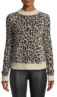 Veronica Beard Marly Leopard-Print Crewneck Pullover Sweater