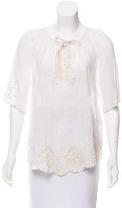Joie Linen Embroidery Top