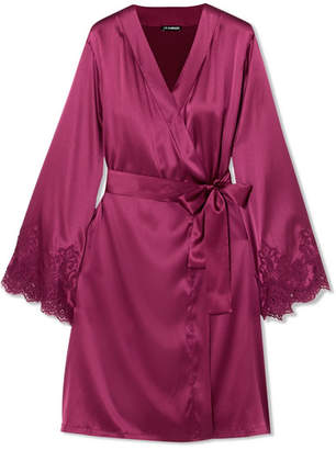 I.D. Sarrieri Chantilly Lace-trimmed Silk-blend Satin Robe - Plum