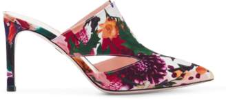 Cushnie et Ochs Marcel Floral Print Mule with Triangle Cut Outs