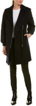 Sandro Contrast Wool-Blend Coat