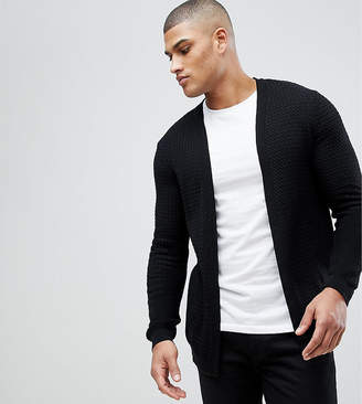 Asos TALL Lightweight Cable Cardigan In Black