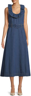 Co Ruffle-Collar Sleeveless Belted A-Line Denim Dress