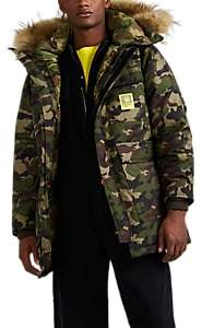 BRUMAL Men's Faux-Fur-Trimmed Camouflage Down Parka - Green