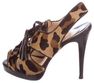 Christian Louboutin Ponyhair Peep-Toe Sandals