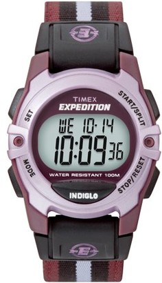 Timex Unisex Expedition Digital CAT Mid-Size Watch, Purple Stripe Nylon Strap