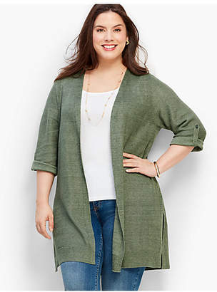 Talbots Textured Linen Roll-Tab Long Duster