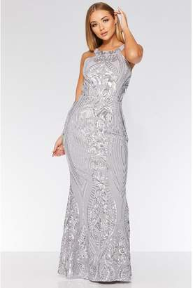 Quiz Grey And Silver Fishtail Maxi Dress