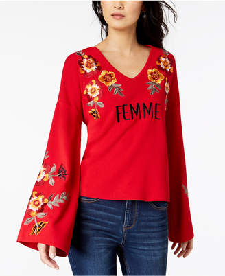 INC International Concepts I.n.c. Femme Embroidered Bell-Sleeve Top