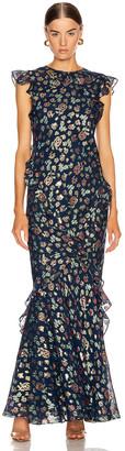 Saloni Tamara B Dress in Shimmer Navy | FWRD