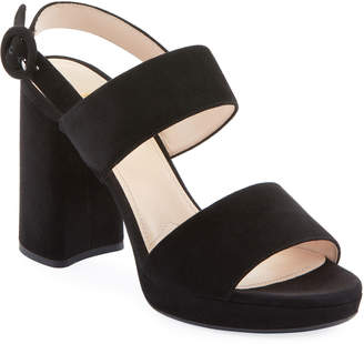 Prada Suede Slingback Block-Heel Platform Sandals