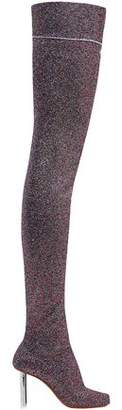 Vetements Metallic Stretch-knit Thigh Boots
