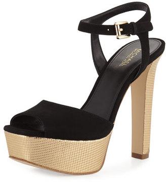 MICHAEL Michael Kors Trish Suede Platform Sandal, Black/Pale Gold $145 thestylecure.com