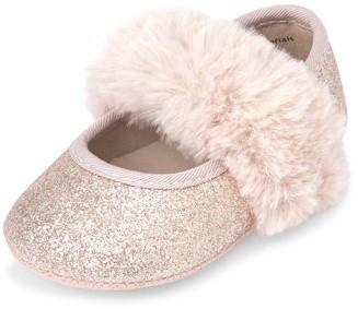 Children's Place The Baby Girls' Faux Fur Glitter Ballet Flat