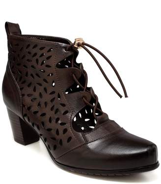 Shae Vicenzo Leather Perforated Flat Heel Ankle Leather Boots