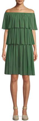 Fuzzi Three-Tier Off-the-Shoulder Ruffle Dress