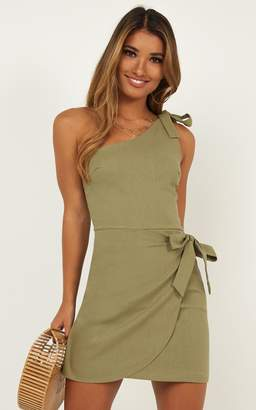 Showpo Keeping It Together Dress in khaki linen look Dresses