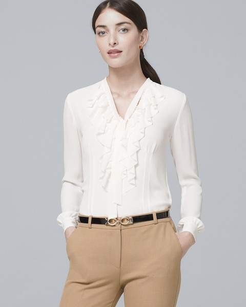 Whbm Ruffle-Front Blouse