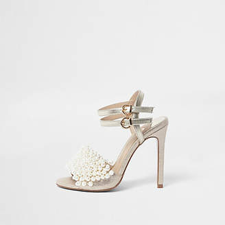River Island Gold faux pearl vamp strappy heeled sandals