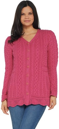 Aran Craft Merino Wool V-Neck Sweater Cardigan with Scalloped Hem