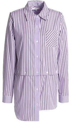 Milly Fractured Convertible Striped Cotton-Poplin Shirt
