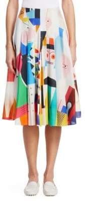 Akris Doll-Print Pleated A-Line Skirt