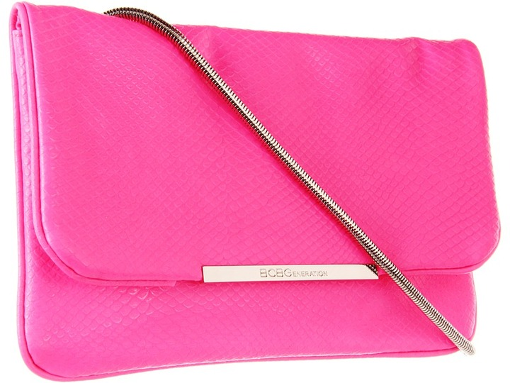 BCBGeneration Nadia Snake Emboss Chateau Bag (Neon Pink) - Bags and Luggage