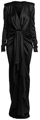 Alexandre Vauthier Women's Stretch Satin Long-Sleeve Ruffle Column Gown