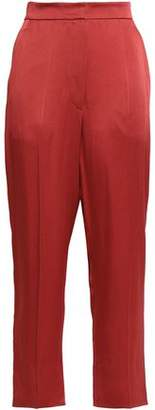 Brunello Cucinelli Cropped Crepe-satin Tapered Pants