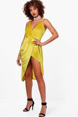 boohoo Lily Velvet Wrap Detail Bodycon Dress