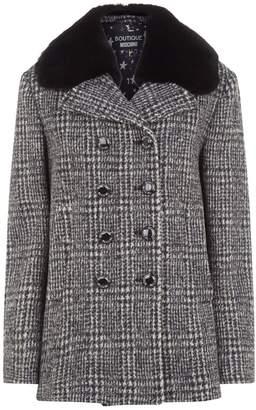 Moschino Fur Collar Houndstooth Coat