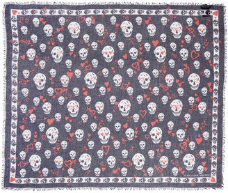 Alexander McQueen Black Sweethearts Skull Scarf $325 thestylecure.com