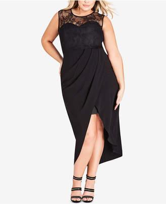 City Chic Plus Size Lace Tulip-Hem Dress
