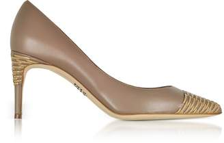 Rodo Taupe Smooth and Woven Leather Pointed Toe Heel Pumps