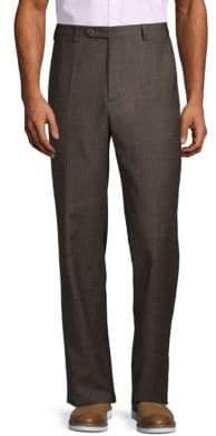 Zanella Plaid Flannel Wool Trousers