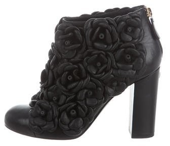 Chanel Camellia Ankle Boots