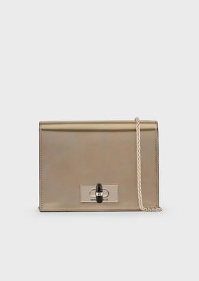 Giorgio Armani Borgonuovo 11 Metallised Patent Leather Mini Crossbody Bag