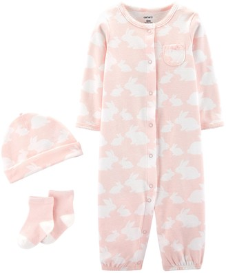 Carter's Baby Girl Take Me Home Bunny Jumpsuit/Gown, Hat & Socks Set