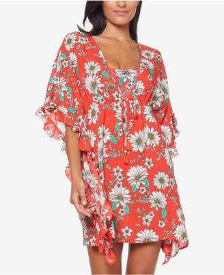 Jessica Simpson Printed Ruffle-Sleeve Cover-Up Women Swimsuit