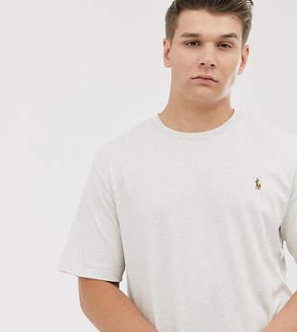 Polo Ralph Lauren Big & Tall multi icon logo t-shirt in beige marl