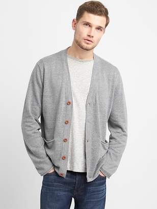 Gap V-Neck Cardigan Sweater in Linen