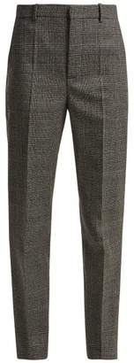 Balenciaga Prince Of Wales Check Wool Trousers - Womens - Grey Multi
