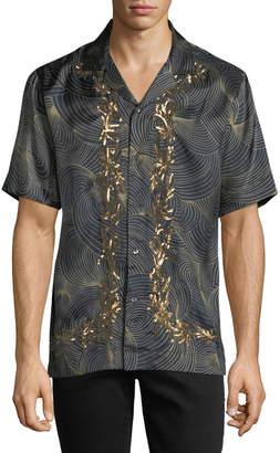 Dries Van Noten Carlton Embroidered-Trim Swirl Short-Sleeve Sport Shirt