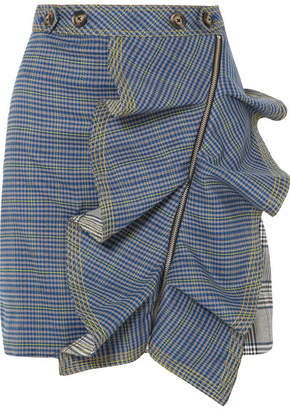 Self-Portrait Ruffled Checked Tweed Mini Skirt - Blue