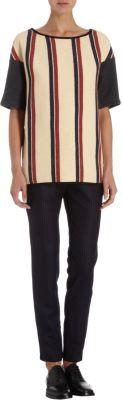 Dries Van Noten Varsity Strip Short Sleeve Sweat Shirt
