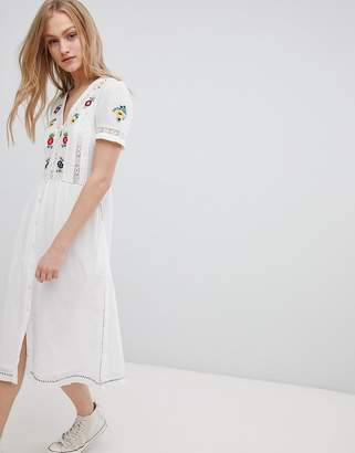 Leon and Harper Embroidered Midi Dress with Button Front