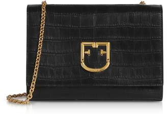 Furla Croco Embossed Leather Viva S Pochette Clutch