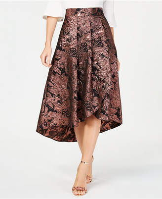 Alex Evenings Metallic Floral High-Low Skirt