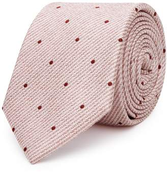 Reiss KESHER POLKA DOT SILK TIE Soft Pink
