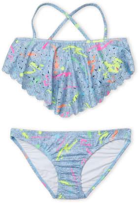 Pilyq Girls 7-16) Two-Piece Laser Cut Ink Print Halter Strap Bikini